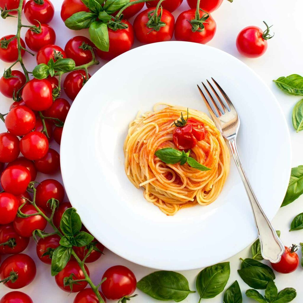 Spaghetti-mit-gerösteter-Tomatensauce